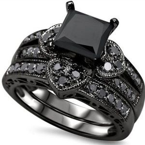 Jewelry - 2pc Black CZ Heart Ring